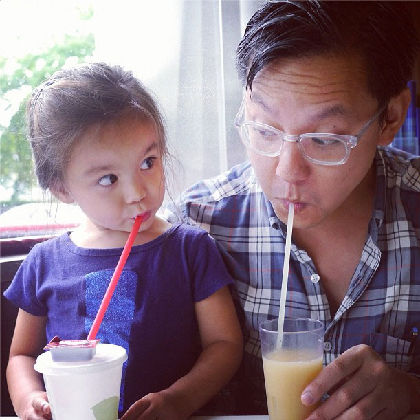Dad & daughter doing a little beverage comedy.