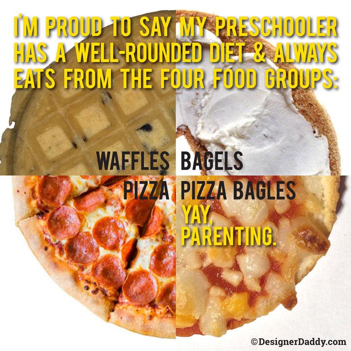 well-balanced diet pizza bagels waffles preschooler diet