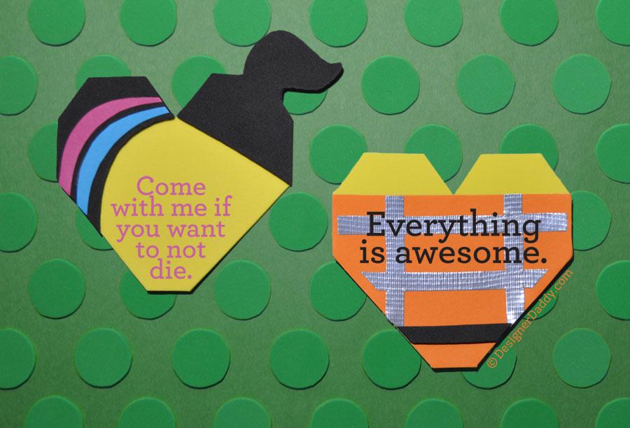 Movie & TV inspired valentines - LEGO