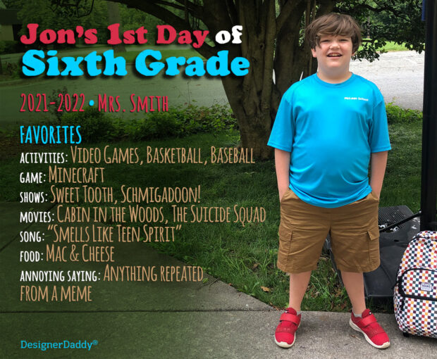 First day of school - Sixth grade